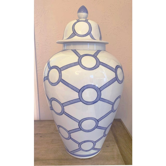 Blue and White Linked Circles Porcelain Temple Jar For Sale - Image 13 of 13