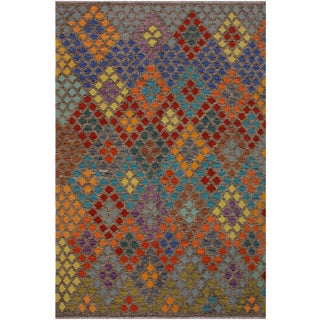 Contemporary Kilim Ariane Brown/Gray Hand-Woven Wool Rug - 6'8 X 9'8 For Sale