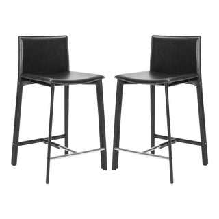 """Elise 24"""" Counter Stool in Black & Chrome - a Pair"""