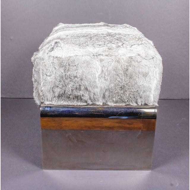 Metal Luxurious Mid-Century Modern Style Lapin Fur Ottoman Stool With Black Chrome Base For Sale - Image 7 of 9