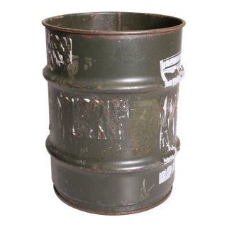 Vintage Industrial Green Metal Military Barrel