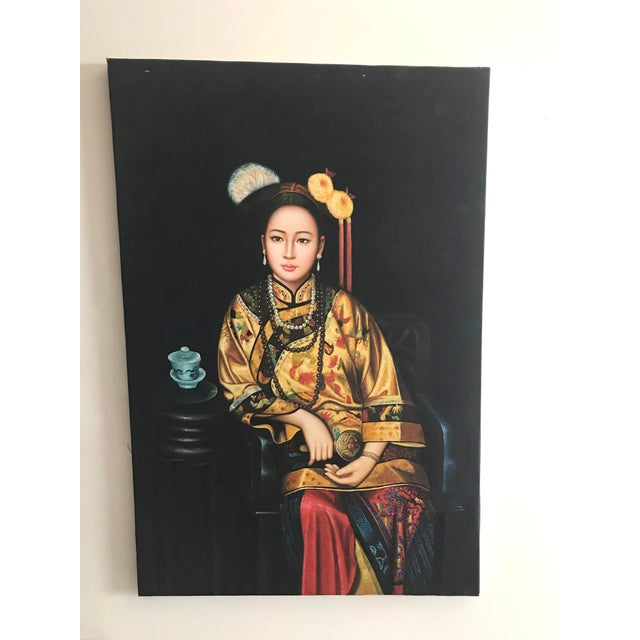Blue Vintage Asian Portrait of a Woman Painting For Sale - Image 8 of 8