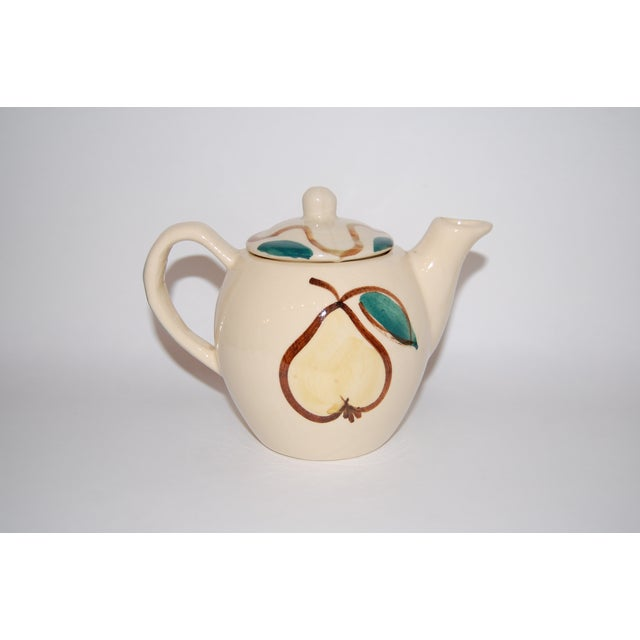 Rustic Vintage Pear & Apple Teapot For Sale - Image 3 of 7
