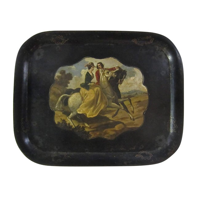Antique Tole Painted Tray Equestrian Scene - Image 1 of 6