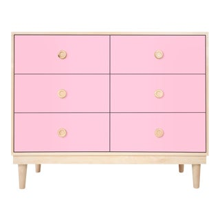 Nico & Yeye Luke Modern Kids 6-Drawer Dresser Solid Maple and Maple Veneers Pink For Sale