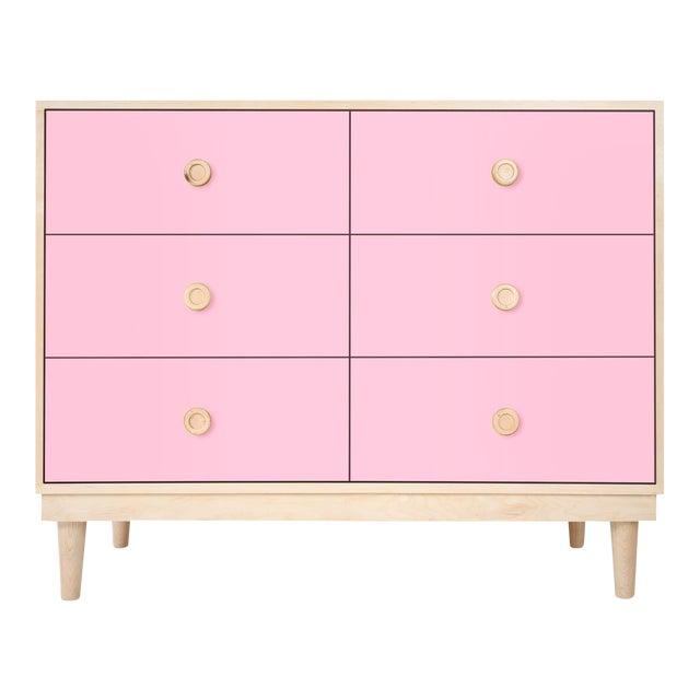 Nico & Yeye Luke Modern Kids 6-Drawer Dresser Solid Maple and Maple Veneers Pink For Sale