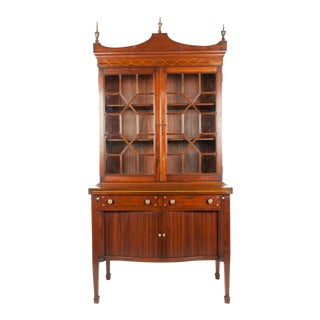 Charak Hand-Carved Mahogany Wood Display Cabinet For Sale