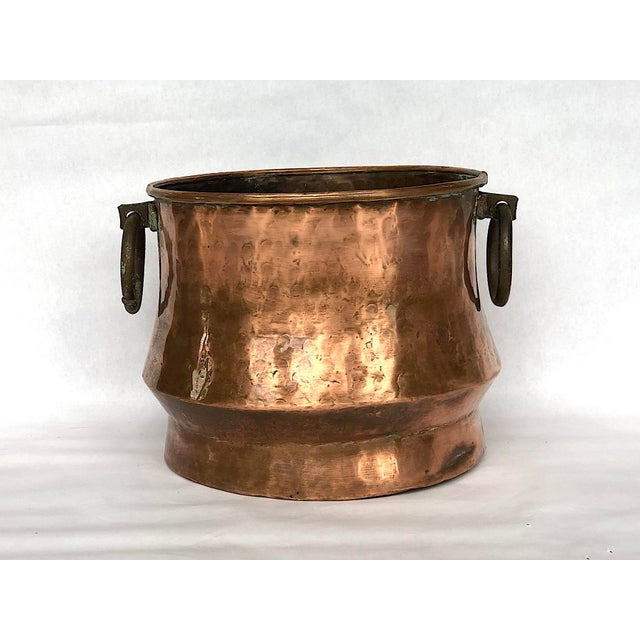 1940s Country Hammered Copper Cache Pot Planter For Sale - Image 10 of 11