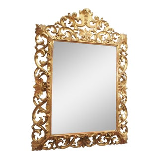 LARGE GILDED AND PIERCED CUSHION MIRROR For Sale