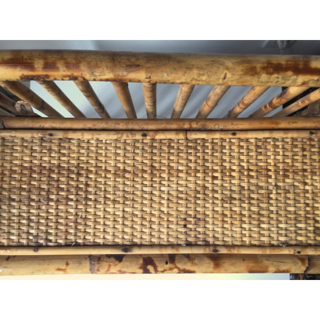 Vintage Scorched Bamboo Rattan Shelf - Image 4 of 6