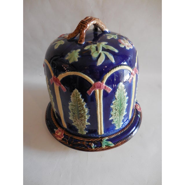 This beautiful 19th Century Majolica cobalt blue Stilton Cheese Dome and under plate is a statement piece! It was hand...