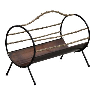 Bamboo Brass Fireplace Wood Holder in Copper and Wrought Iron For Sale