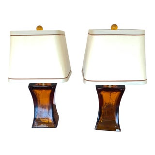 1980's Amber Glass Donghia Table Lamps with Shades - a Pair For Sale