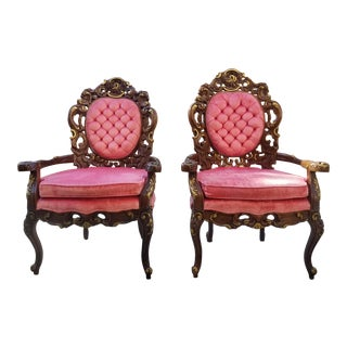 1950s Vintage Victorian Pink Velvet Chairs- A Pair For Sale