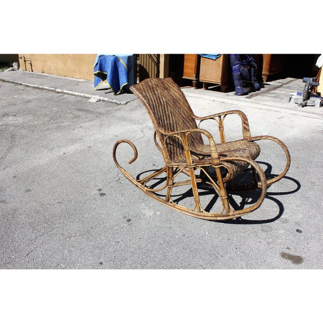 Brown C. 1940s French Art Deco Wood Rocking Chair For Sale - Image 8 of 13