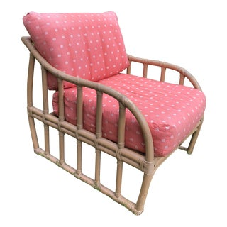 Ficks Reed Rattan Cube Lounge Chair With Custom Cushions For Sale