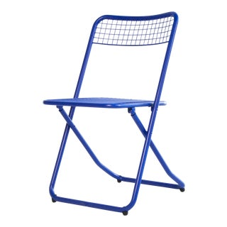 New Blue Cobalt White Metal Folding Chair by Federico GIner for Houtique For Sale