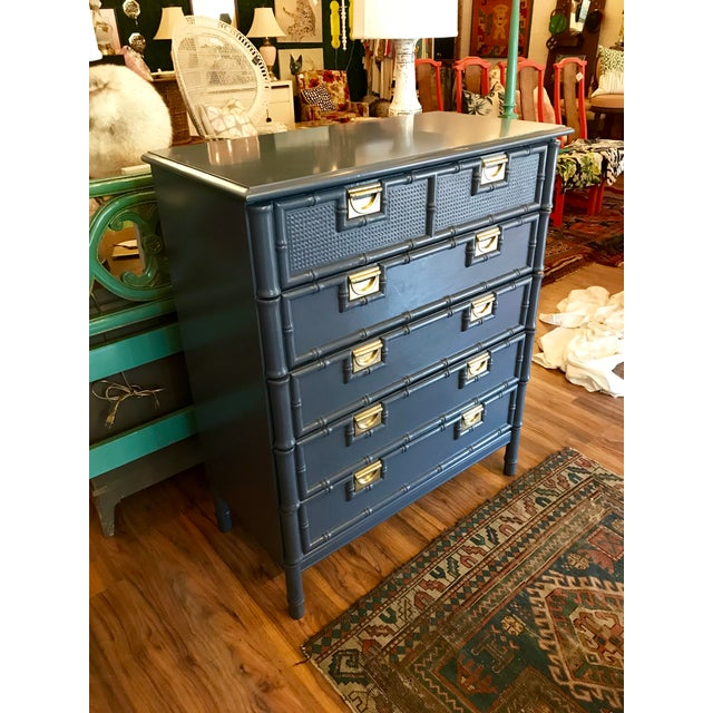 Hale Navy Blue Lacquered Faux Bamboo Highboy For Sale In Raleigh - Image 6 of 8