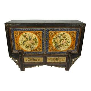 Antique Floral Gansu Cabinet For Sale