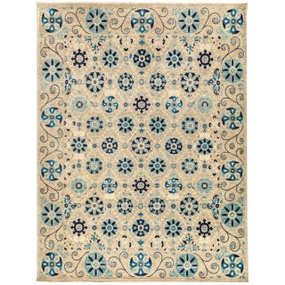 "New Hand-Knotted Suzani Rug - 8'1"" X 10'6"" For Sale"