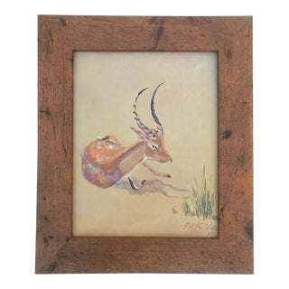 1954 Resting Antelope or Gazelle Wildlife Painting For Sale
