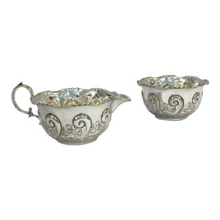 Silver Plate Sugar & Creamer - Set of 2 For Sale