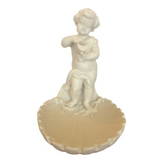 Parian Porcelain Shell Motif Dish With Sculptural Putti For Sale