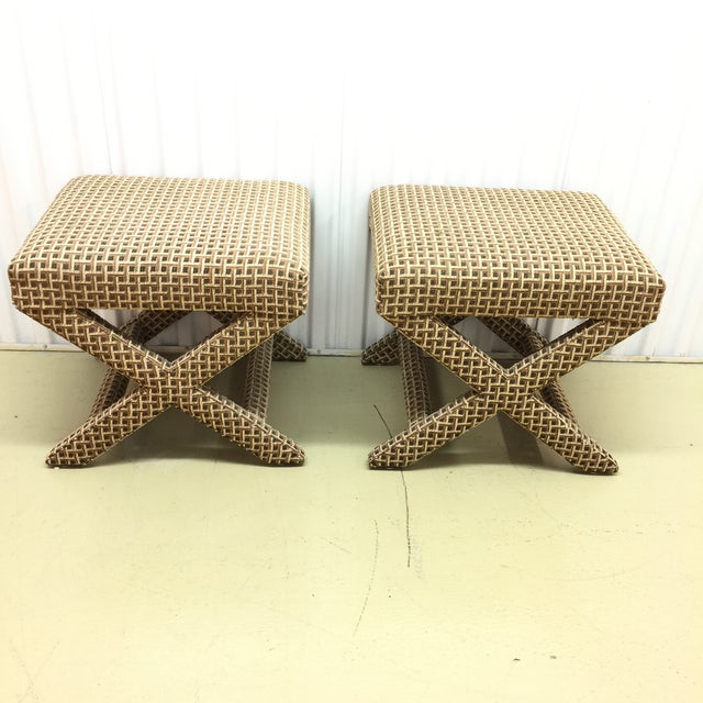 Upholstered X Ottoman Benches - A Pair - Image 4 of 7