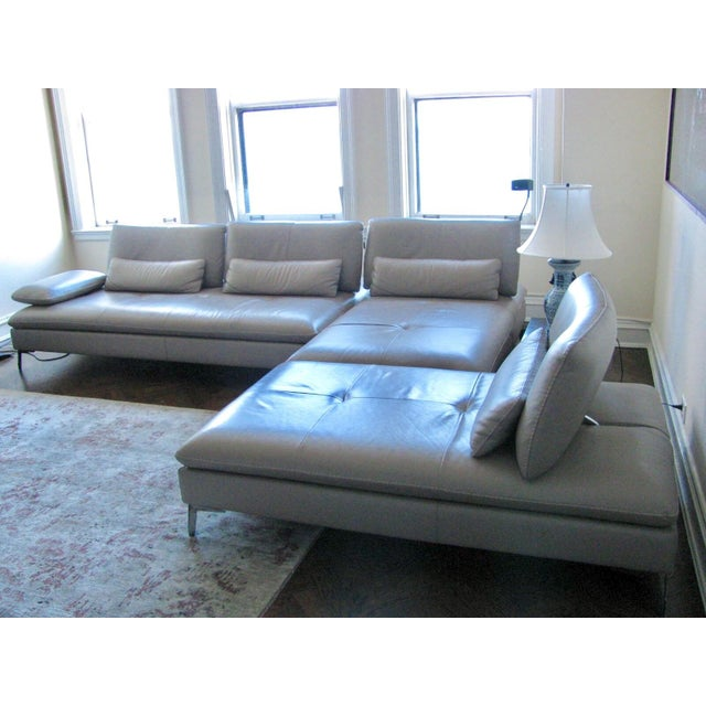 Roche Bobois Taupe 3 Pc Leather Sectional Sofa - Image 3 of 4