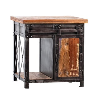 Salvaged Sliding Door Side Table For Sale