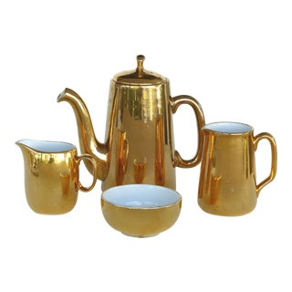 Mixed Gold Luster Coffee Set From Pillivuyt of France and Royal Worchester For Sale