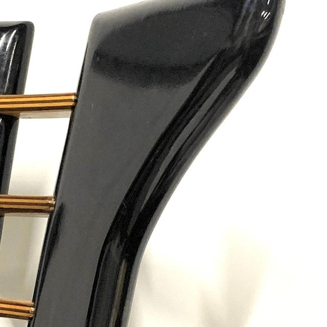Art Deco 1970s Pierre Cardin Sculptural Black Lacquer Chairs With Leather Seats - Set of 4 For Sale - Image 3 of 10