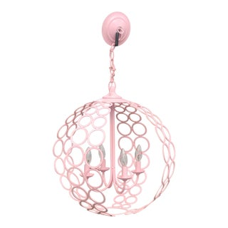 "Currey and Company ""Tartufo"" Pink Orb Four Light Chandelier For Sale"