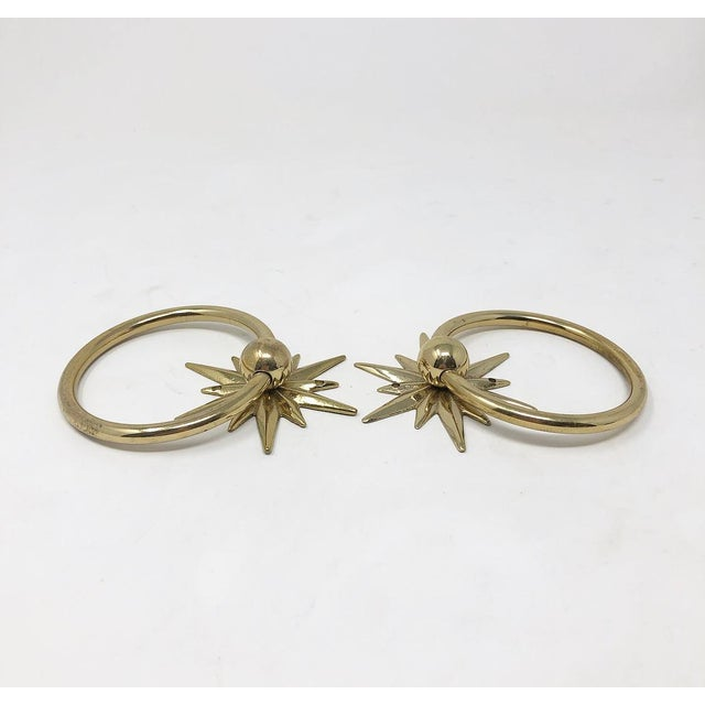 Hollywood Regency Mid-Century Starburst Hardware - a Pair For Sale - Image 3 of 10