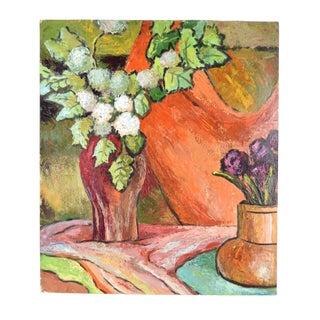 1950s Vintage Dick Fort Still Life W Orange Vase Signed Oil Painting For Sale