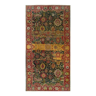 Green Color Fine Antique Hand Knotted Agra 6' X 11'8'' For Sale