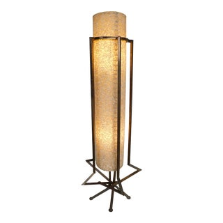 Vintage Mid Century Angled Brass & Fiberglass Shade Floor Lamp For Sale