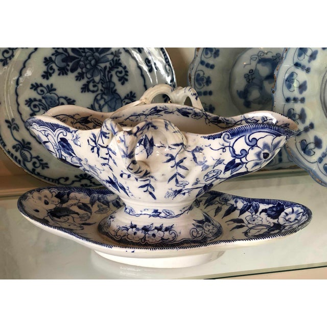 """French Provincial French Blue """"Flora"""" Porcelain Gravy Boat For Sale - Image 3 of 5"""