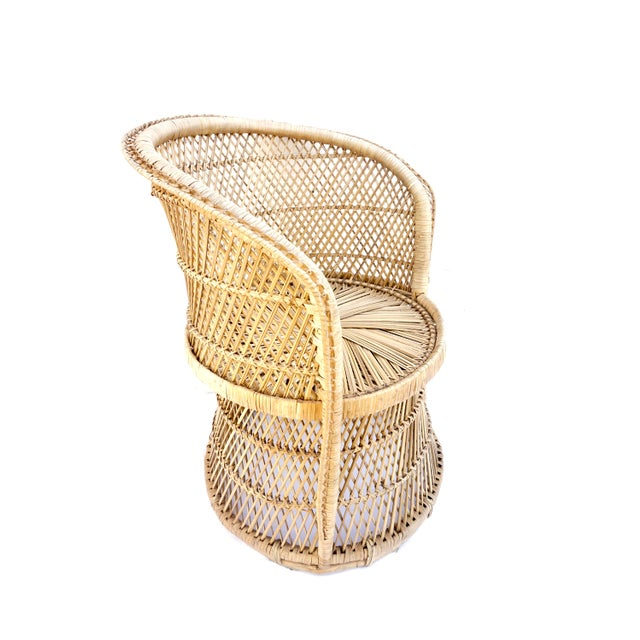 Vtg Mid-Century Mehitabel Furniture Co. Natural Woven Rattan Peacock Barrel Chair | Mid-Century Boho Furniture For Sale In Los Angeles - Image 6 of 12