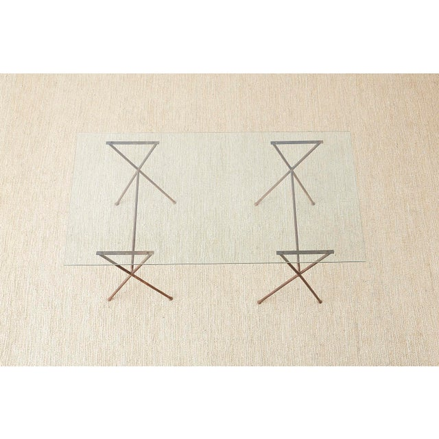 Mid 20th Century Midcentury Glass Table With Iron X Form Sawhorse Legs For Sale - Image 5 of 13