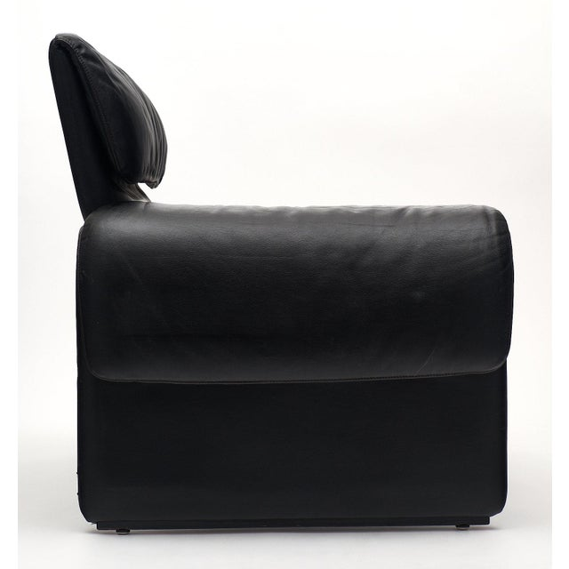Black Vintage De Sede Black Leather Armchair For Sale - Image 8 of 11