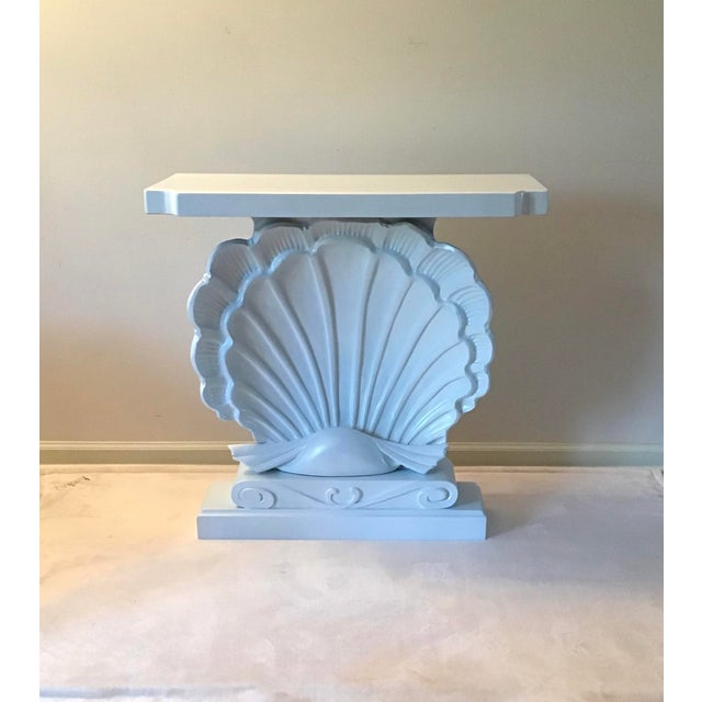 White Palm Beach Regency 1950s Edward Wormley Dunbar Style Carved Wood Shell Console Table White Blue Pearl For Sale - Image 8 of 13