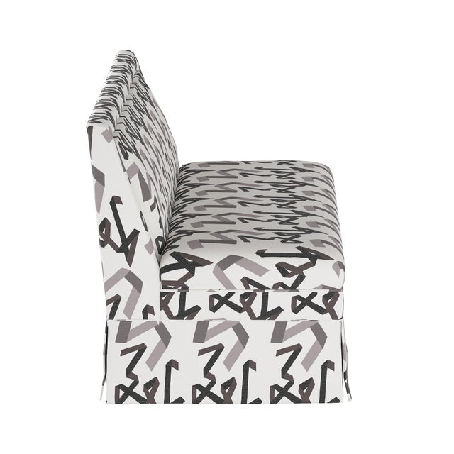 Contemporary Skirted Settee in Black Ribbon by Angela Chrusciaki Blehm for Chairish For Sale - Image 3 of 8
