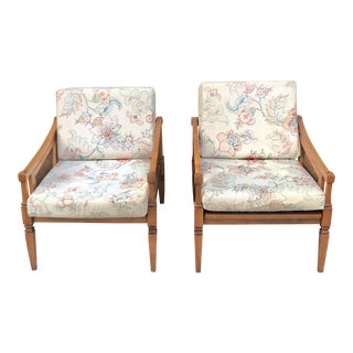 Mid-Century Modern Caned Lounge Arm Chairs- a Pair For Sale
