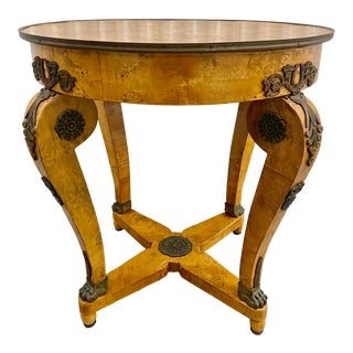 French Empire Bronze Ormolu Guéridon Table With Cabriole Legs For Sale