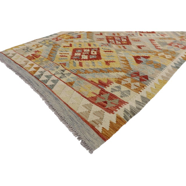 20th Century Boho Chic Afghani Shirvan Kilim Rug With Tribal Style For Sale - Image 9 of 11
