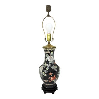 Vintage Famille Noire Chinoiserie Table Lamp on Stand With Ducks, Goldfish and Lotus For Sale