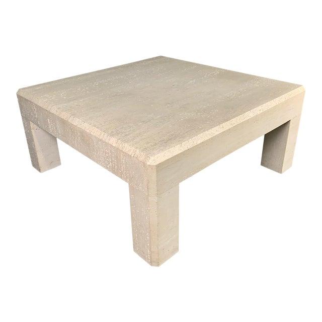 1980s Italian Travertine Square Coffee Table For Sale