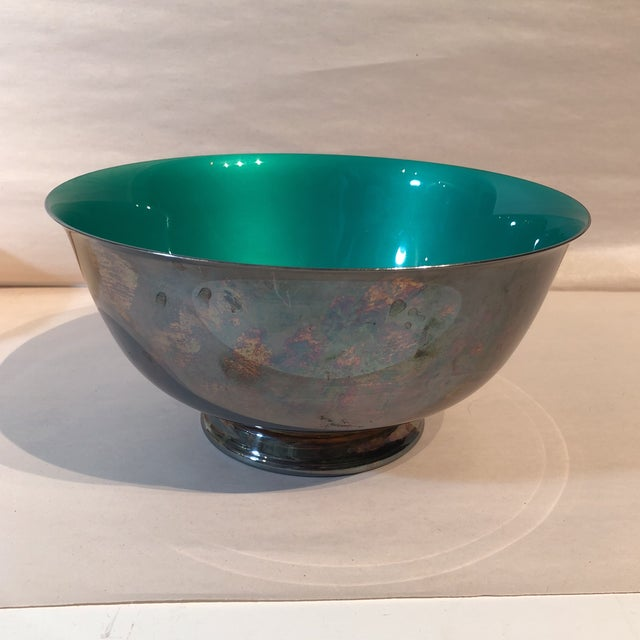 Enamel Reed & Barton Silver Plated & Bright Green Enamel Bowl For Sale - Image 7 of 10