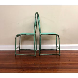 Vintage 1940's Industrial Green Metal Stacking Chairs- Set of 6 Preview